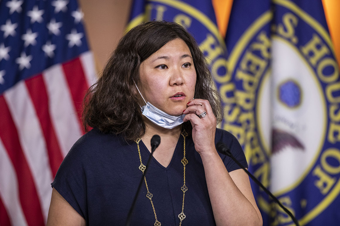 Rep. Grace Meng speaks during a news conference on Capitol Hill.