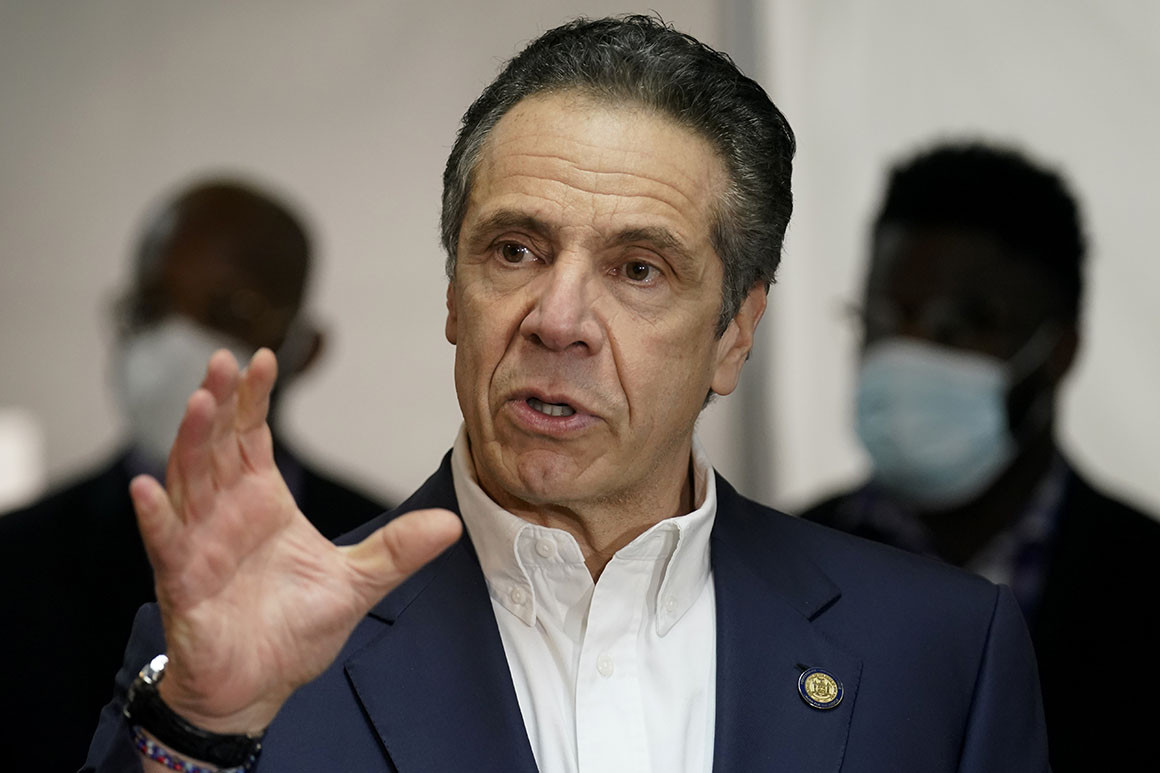 Gov. Andrew Cuomo speaks before getting vaccinated at the mass vaccination site at Mount Neboh Baptist Church in Harlem.